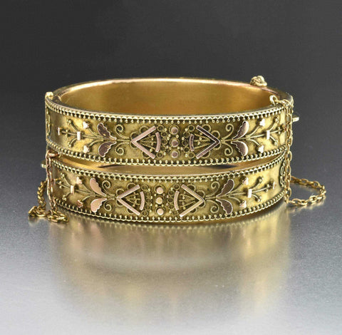 Vintage Rosy Gold Thick Fancy Link Chain Bracelet 1900s