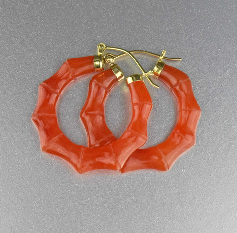 Vintage Natural Red Orange Jade 14K Gold Earrings