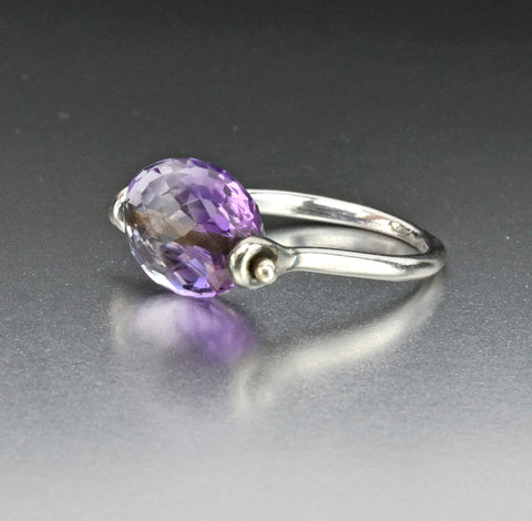3rd Payment Vintage Silver Amethyst Spinner Ring