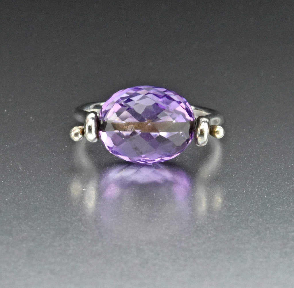 Final Payment Vintage Silver Amethyst Spinner Ring - Boylerpf