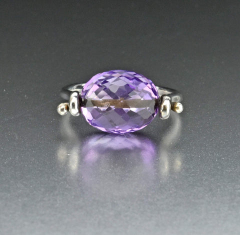 Antique Silver Amethyst Riviere Earrings