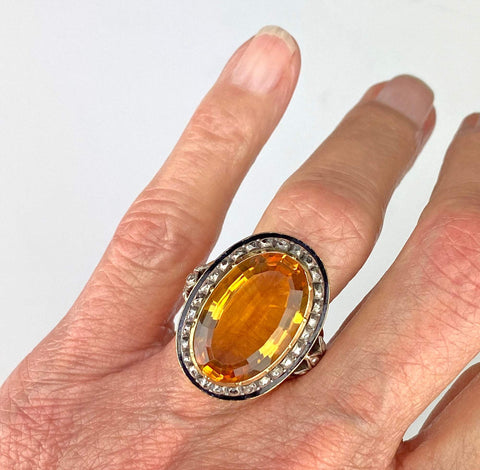 18K Gold Citrine Diamond Cluster Halo Ring