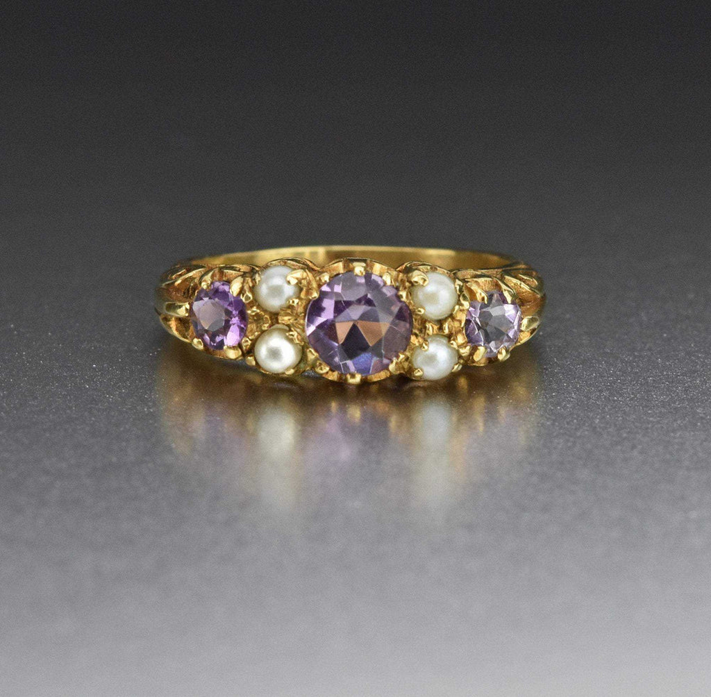 Vintage Pearl Gold Amethyst Wedding Band Ring - Boylerpf