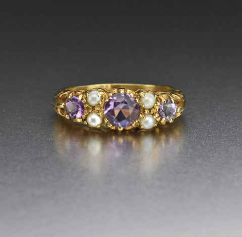 Vintage Pearl Gold Amethyst Wedding Band Ring