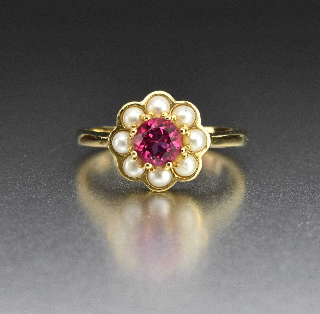 Vintage Pearl Halo Pink Topaz Ring, Luke Stockley - Boylerpf