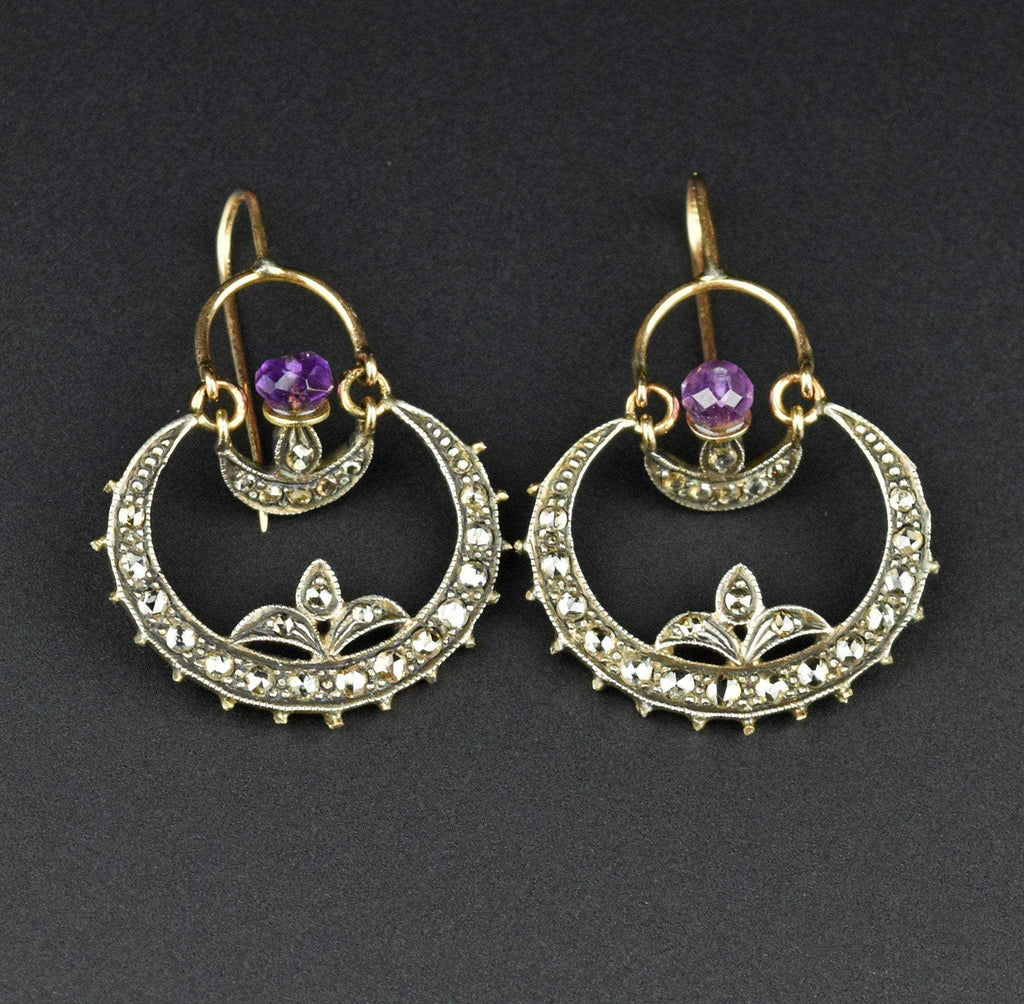 Crescent Moon Amethyst & Diamond Hoop Earrings - Boylerpf
