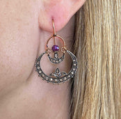 Crescent Moon Amethyst & Diamond Hoop Earrings