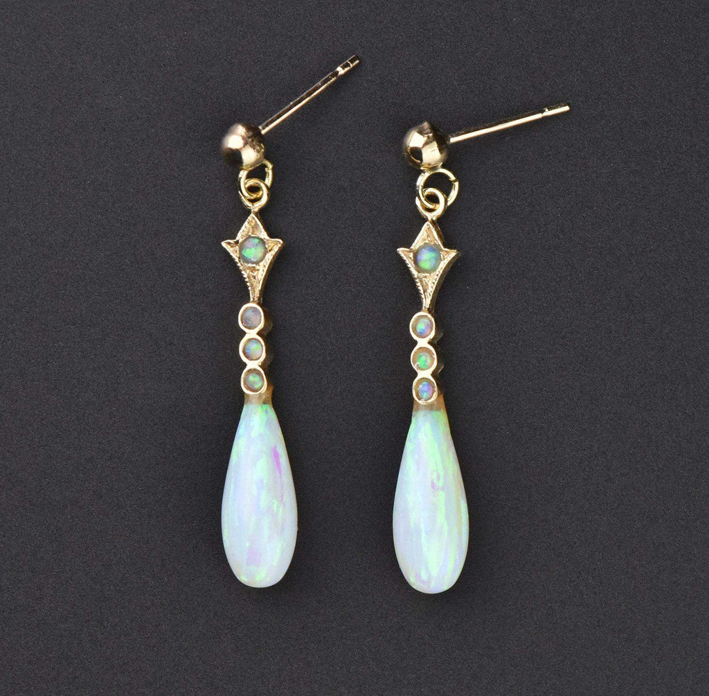 Vintage Gold Opal Tear Drop Earrings - Boylerpf