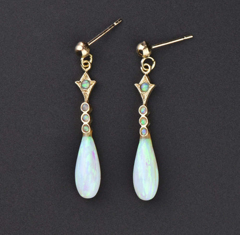Vintage Gold Opal Tear Drop Earrings
