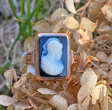 Antique Victorian Sardonyx Cameo Ring - Boylerpf