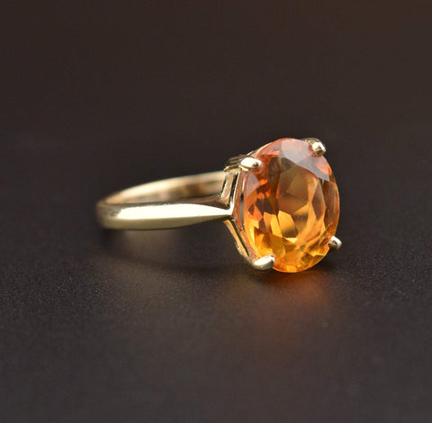 14K Gold Vintage Citrine Solitaire Ring