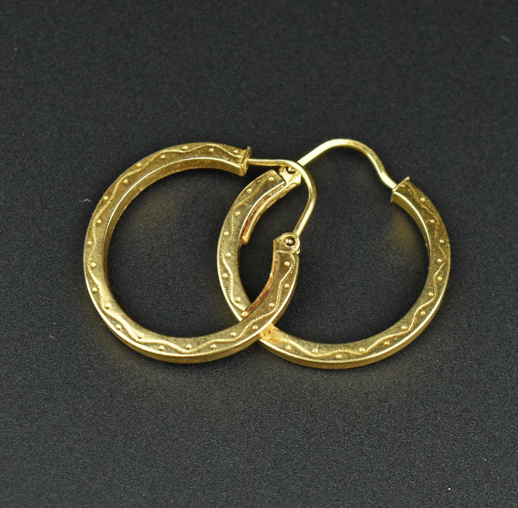 Engraved Gold Half Hoop Earrings - Boylerpf