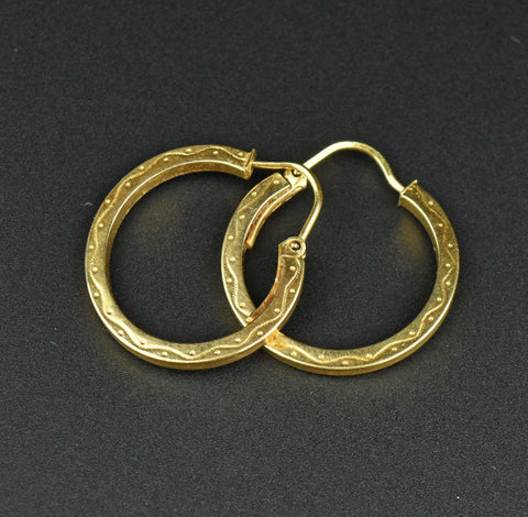 Engraved Gold Half Hoop Earrings
