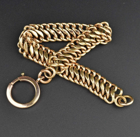 Antique Gold Heart Padlock Curb Chain Bracelet - ON HOLD