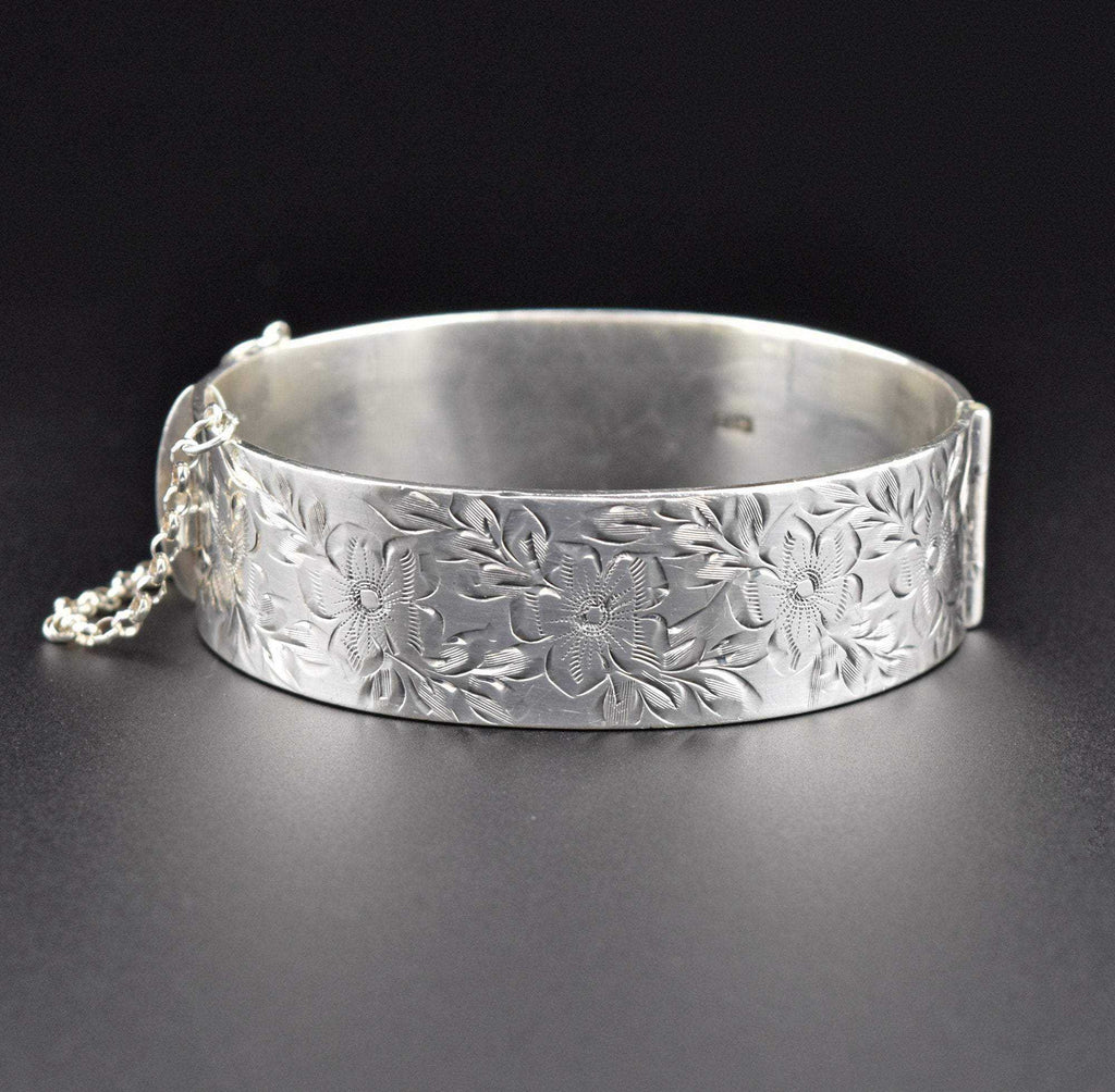 Sterling Silver Engraved Forget Me Not Bangle Bracelet - Boylerpf