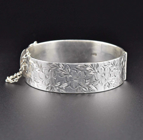 Sterling Silver Engraved Forget Me Not Bangle Bracelet