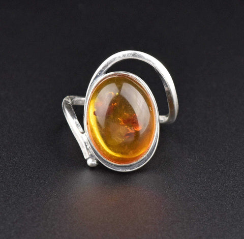 Sterling Silver Natural Baltic Amber Ring