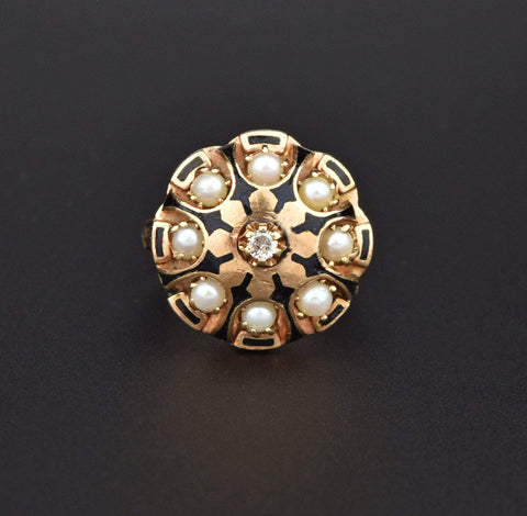 14K Gold Vintage Diamond Pearl Enamel Ring