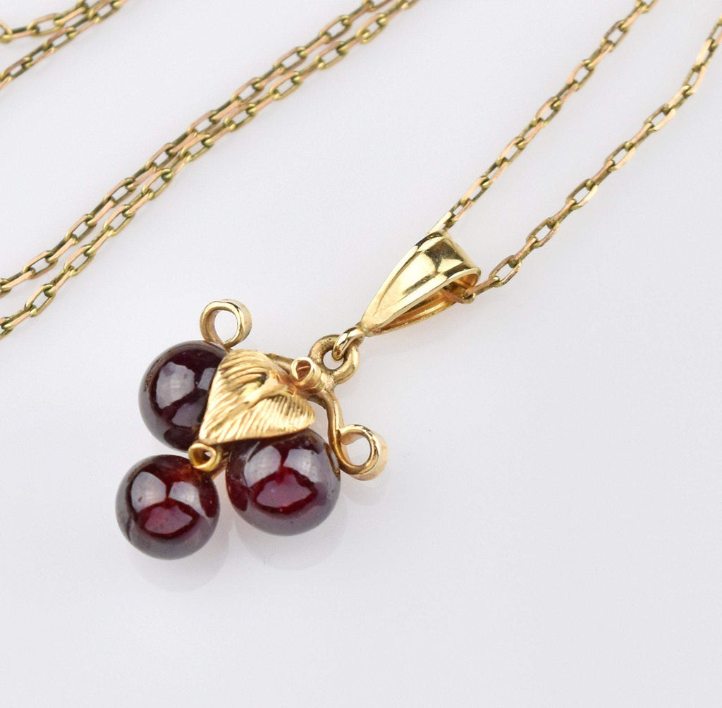 14K Gold Vintage Garnet Necklace - Boylerpf
