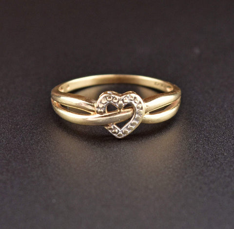 10K Gold Vintage Heart Ring
