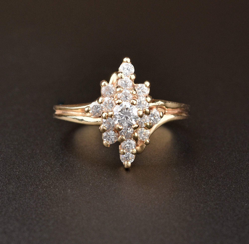 14K Gold Vintage Diamond Cluster Ring - Boylerpf
