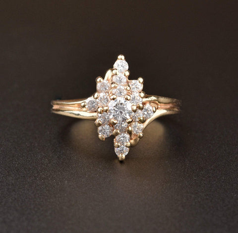 14K Gold Vintage Diamond Cluster Ring