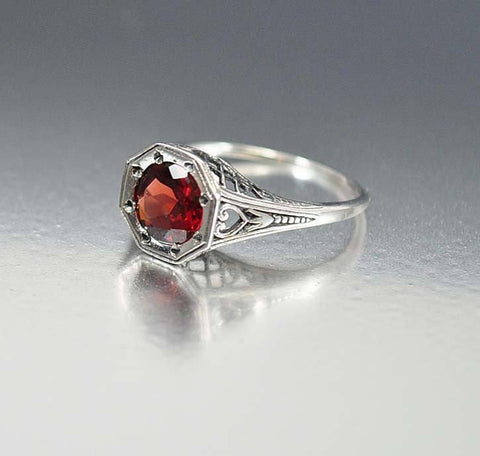 Silver Filigree Garnet Ring Art Deco Engagement Style