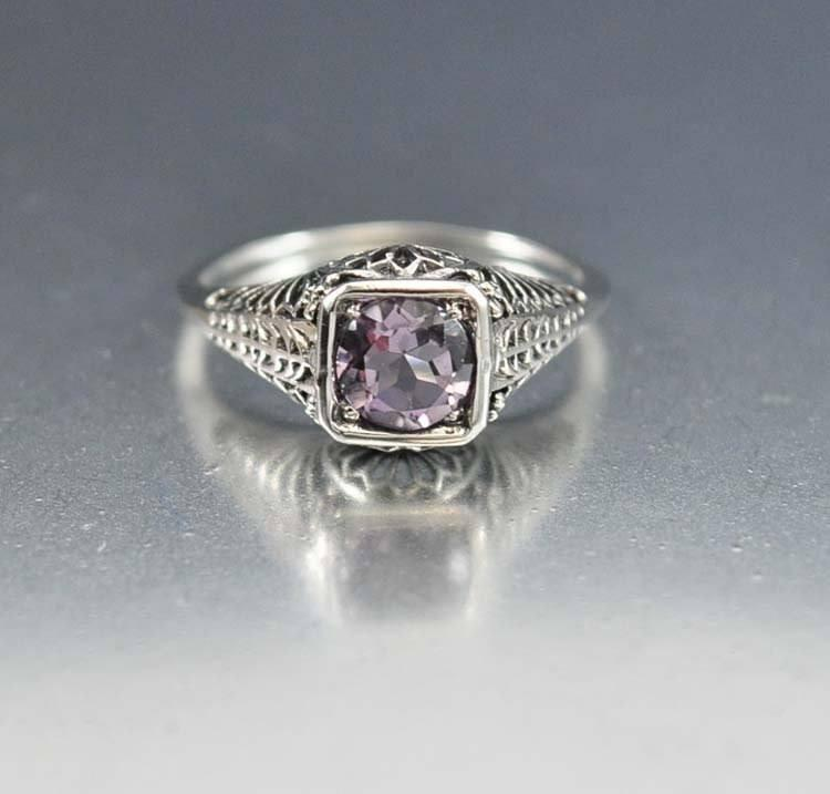 Amethyst Sterling Silver Filigree Engagement Ring Art Deco - Boylerpf