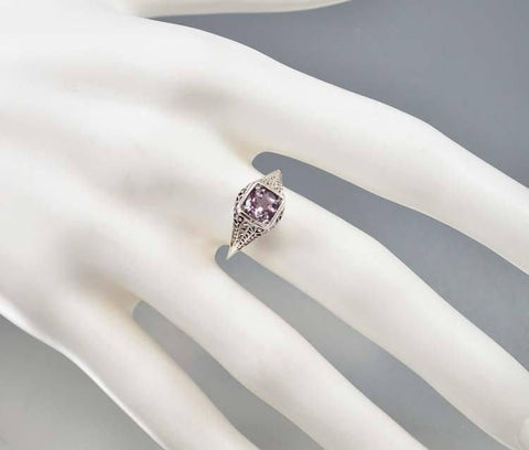Amethyst Sterling Silver Filigree Engagement Ring Art Deco