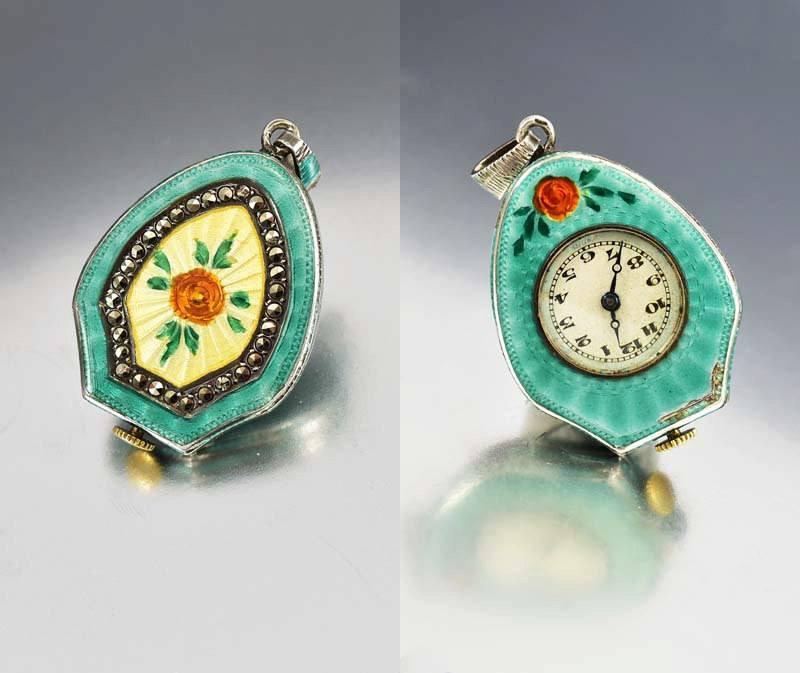Green Enamel & Flower Sterling Watch Pendant c 1920s - Boylerpf