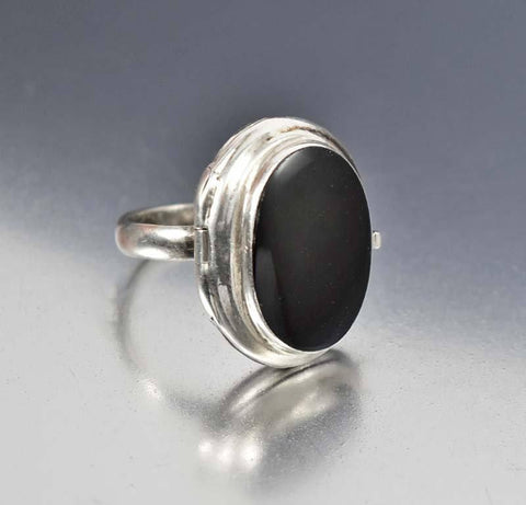 Vintage Sterling Silver Onyx Locket Poison Ring Gothic