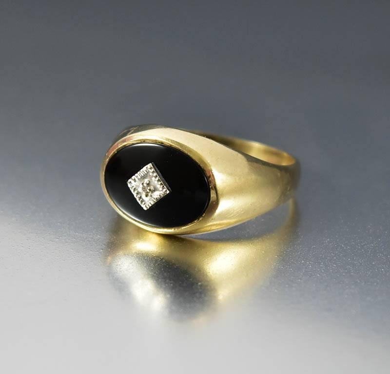 Art Deco Gold Black Onyx Diamond Signet Ring - Boylerpf - 1