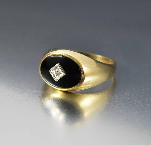Art Deco Gold Black Onyx Diamond Signet Ring