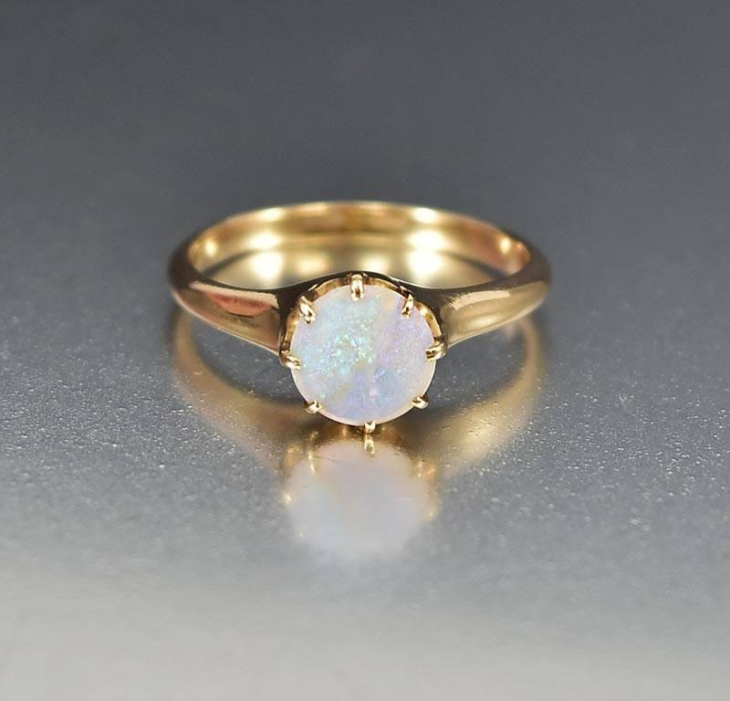 Antique Edwardian 14K Gold Opal Engagement Ring - Boylerpf