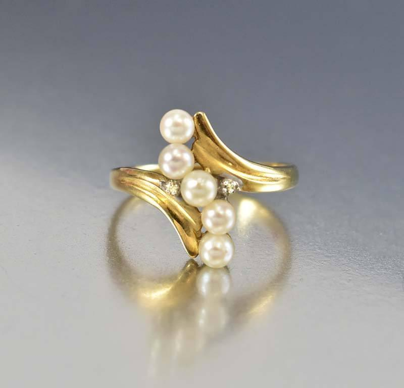 ring diamond jewellery three gold rings wedding engagement vintage promise pearl