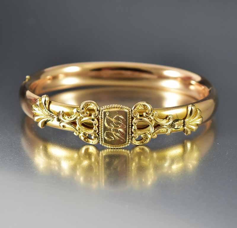 Edwardian Engraved Gold Filled Bangle Bracelet - Boylerpf - 1