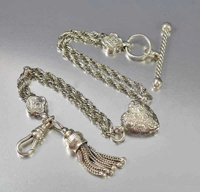 Antique Silver Albertina Watch Chain Bracelet Tassel & Heart - Boylerpf - 1