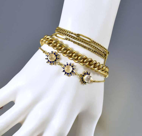 Retro Sterling Gold Enamel Star Moonstone Bracelet