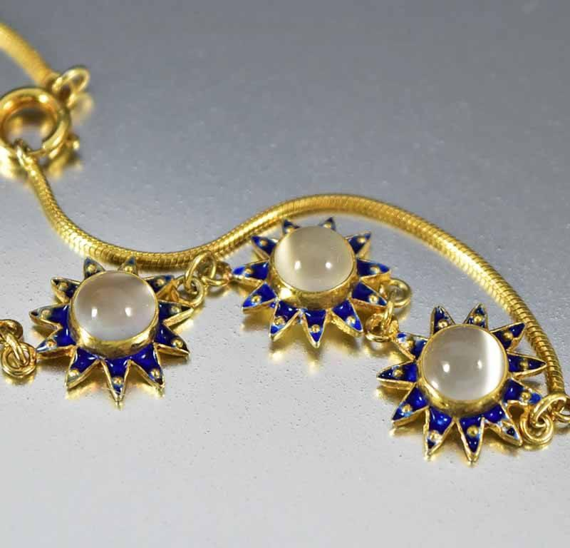 Retro Sterling Gold Enamel Star Moonstone Bracelet - Boylerpf - 1