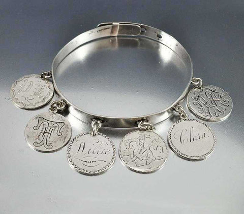 Victorian Silver Love Token Coin Charm Bracelet