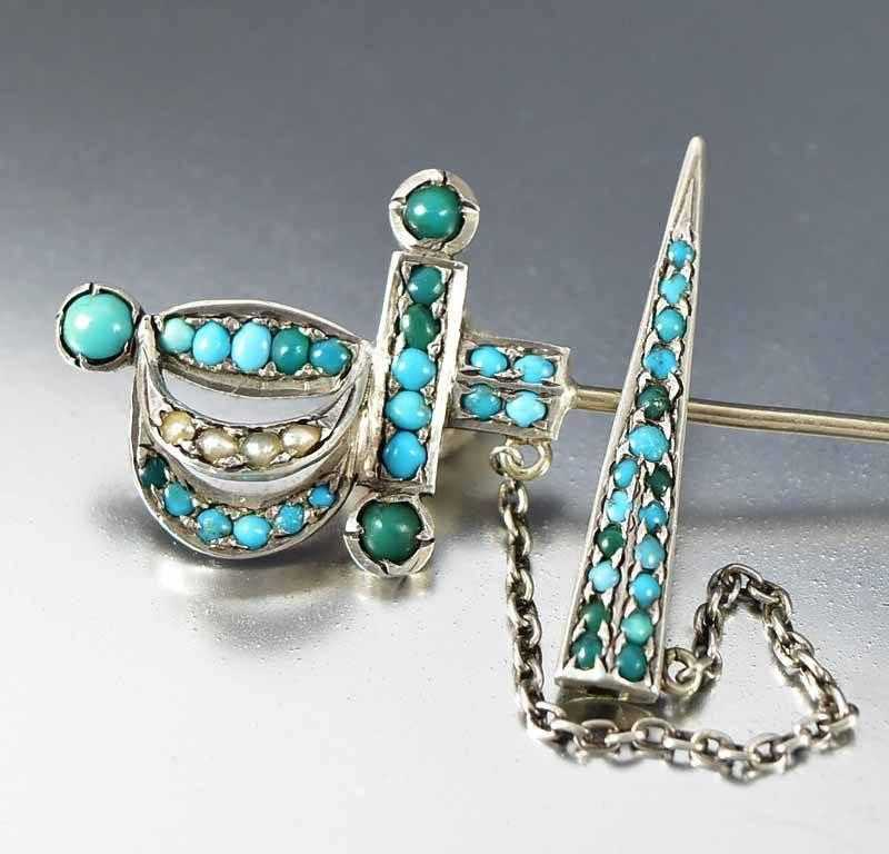 Antique Sterling Silver Victorian Turquoise Sword Brooch - Boylerpf