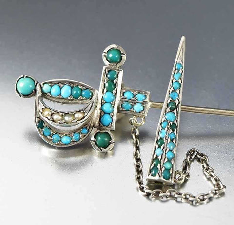 Antique Sterling Silver Victorian Turquoise Sword Brooch