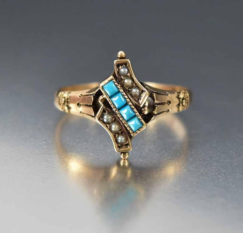 Antique Victorian Gold Pearl Turquoise Ring - Boylerpf - 1
