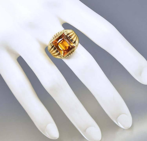 Art Deco Gold Signet Style Yellow Sapphire Ring