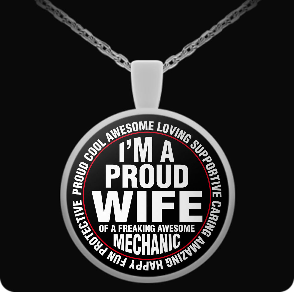 Proud Wife of A Freaking Awesome Mechanic - Trendy Gear-Round Pendant Necklace-Necklace