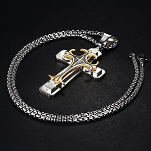 "Men's Stainless Steel Large Fleur-de-lis Cross 3-Tone Pendant Necklace - 24"" Chain"