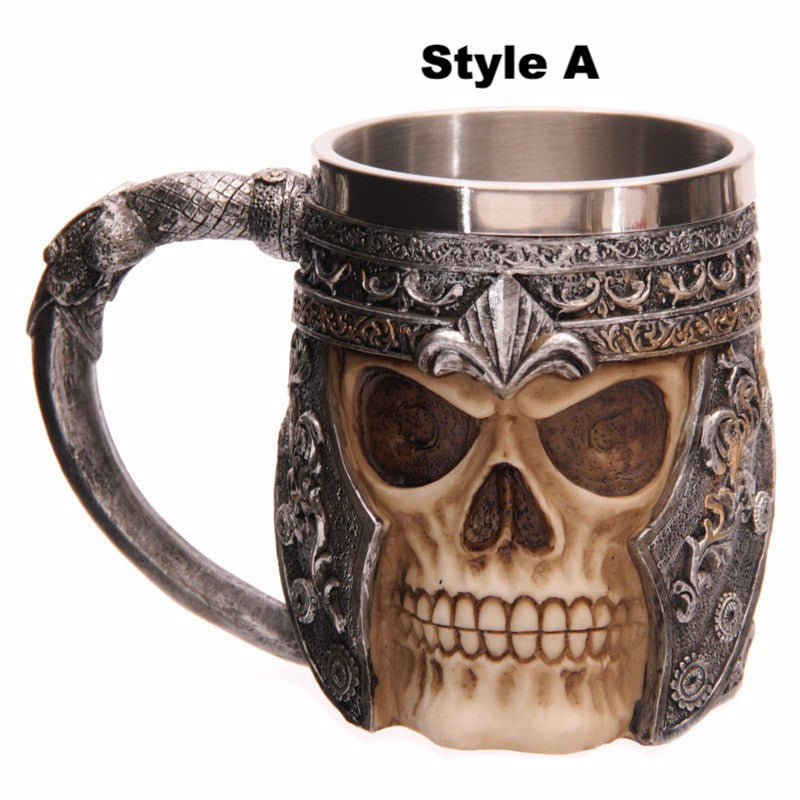 Striking Skull Warrior Tankard Viking Skull Beer Mug