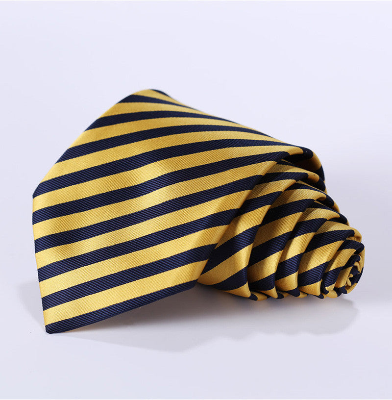 Yellow Navy Blue Stripe Tie and Handkerchief
