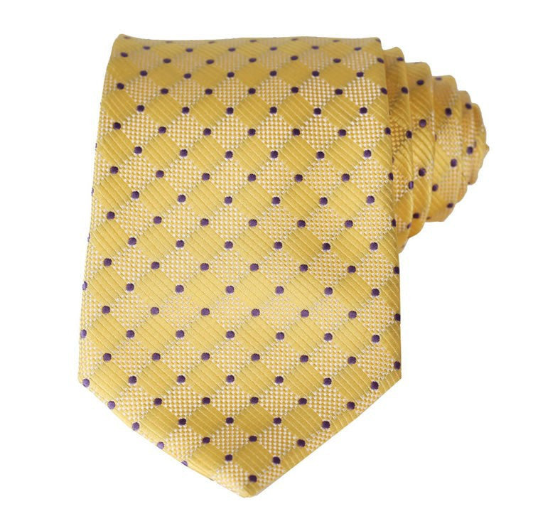 Yellow Purple Tie and Handkerchief