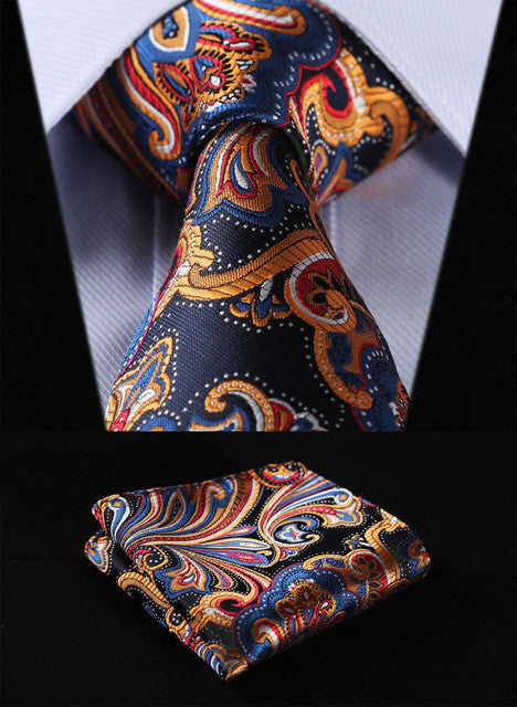Orange Navy Blue Floral Men Tie & Pocket Square Handkerchief Set
